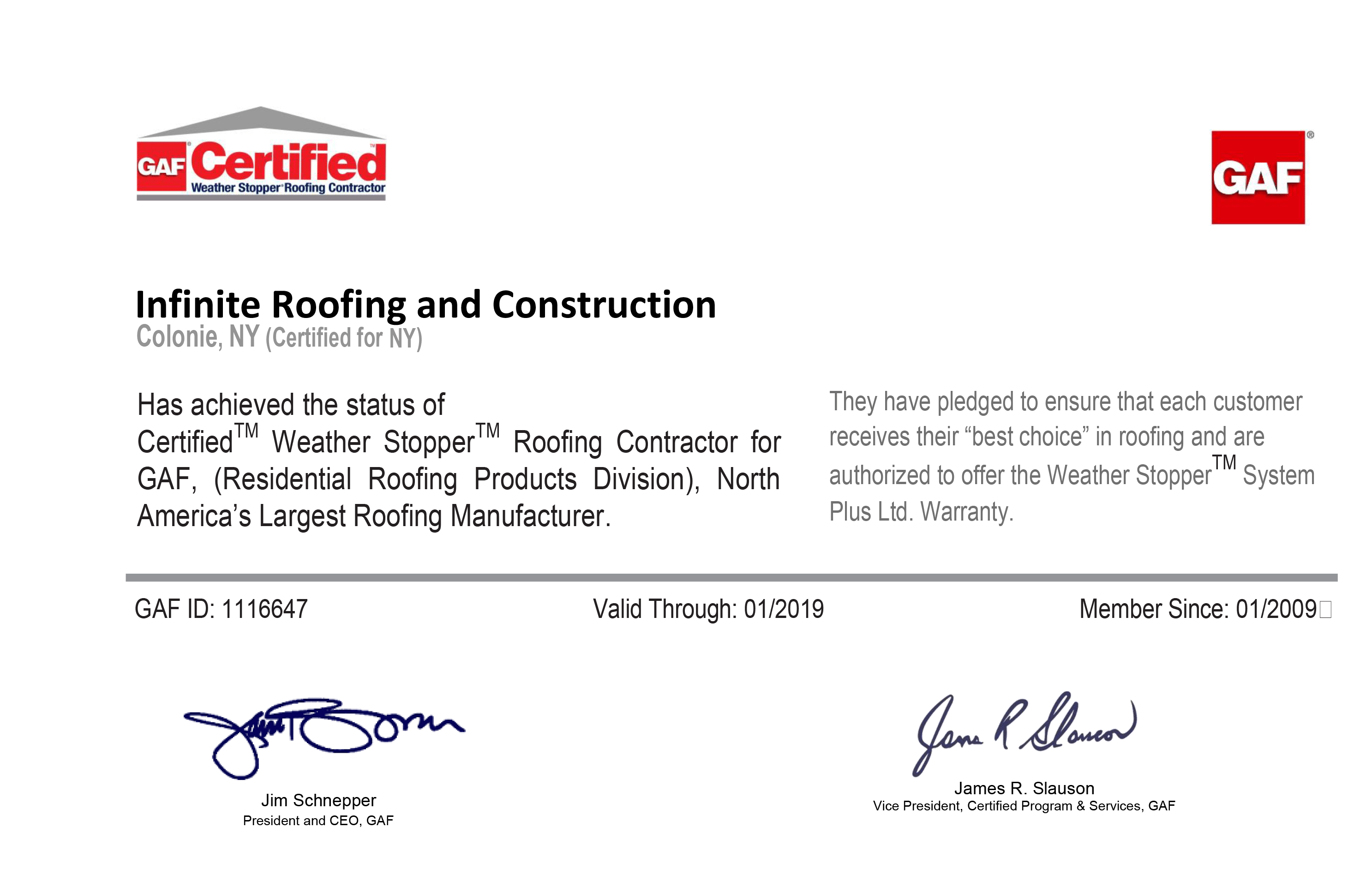 Copy of Infinite Roofing & Construction GAF Certification