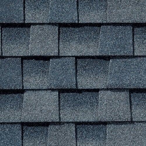 Picture of blue hued shingles, Biscayne Blue GAF Timberline